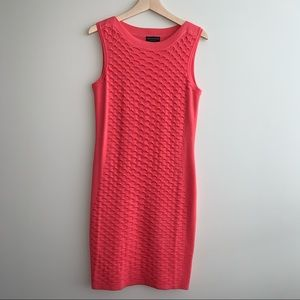 Coral Sleeveless Knit Midi Dress